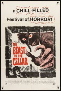 3g061 BEAST IN THE CELLAR 1sh '71 wacky monster image, a chill-filled festival of horror!