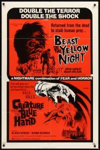 3g063 BEAST OF THE YELLOW NIGHT/CREATURE WITH BLUE HAND 1sh '71 double terror, double shock!