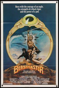 3g064 BEASTMASTER 1sh '82 cool fantasy art of barechested Marc Singer & sexy Tanya Roberts!