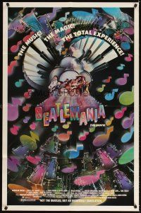 3g065 BEATLEMANIA 1sh '81 great psychedelic artwork of The Beatles impersonators by Kim Passey!