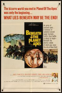 3g070 BENEATH THE PLANET OF THE APES 1sh '70 sci-fi sequel, what lies beneath may be the end!
