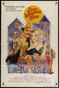 3g071 BEST LITTLE WHOREHOUSE IN TEXAS 1sh '82 art of Burt Reynolds & Dolly Parton by Goozee!