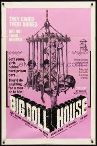 3g075 BIG DOLL HOUSE 1sh '71 artwork of Pam Grier whose body was caged, but not her desires!