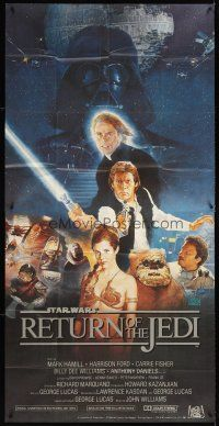 3j128 RETURN OF THE JEDI 3sh '83 George Lucas classic, Hamill, Ford, Fisher, Kazuhiko Sano art!
