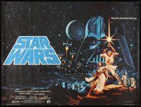 3j037 STAR WARS British quad '77 George Lucas classic, great art by Greg & Tim Hildebrandt!