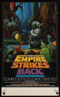 3j097 EMPIRE STRIKES BACK radio show special 17x28 '80 cool artwork of Yoda by Ralph McQuarrie!