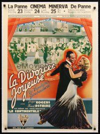 3k090 GAY DIVORCEE linen pre-War Belgian '34 best different images of Fred Astaire & Ginger Rogers!