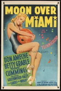 3k419 MOON OVER MIAMI linen style B 1sh '41 full-length art of sexy Betty Grable holding beachball!