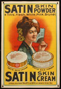 3k187 ALBERT F. WOOD SATIN SKIN POWDER AND SATIN SKIN CREAM linen 29x42 advertising poster 1903