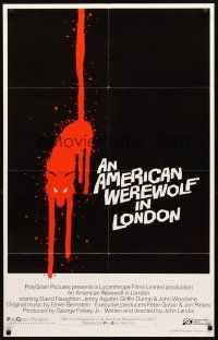3m068 AMERICAN WEREWOLF IN LONDON int'l 1sh '81 Naughton, different art of bloody cat, ultra-rare!