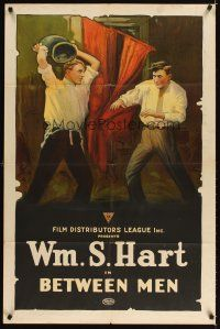 3m069 BETWEEN MEN 1sh '15 early silent, wonderful stone litho art of William Hart fighting!