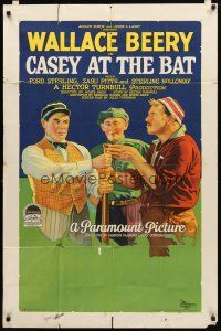 3m070 CASEY AT THE BAT style B 1sh '27 cool baseball art of Wallace Beery, from classic poem!