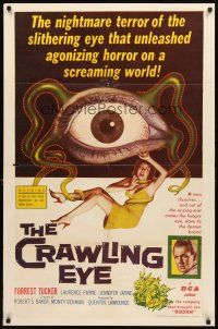 3m071 CRAWLING EYE 1sh '58 classic artwork of eyeball monster with victim!