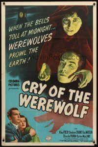 3m072 CRY OF THE WEREWOLF 1sh '44 gypsy Nina Foch as the monster of New Orleans!