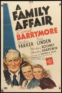 3m077 FAMILY AFFAIR 1sh '37 art of Lionel Barrymore as Judge Hardy, first Andy Hardy!