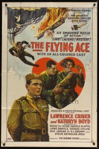 3m078 FLYING ACE 1sh '26 wonderful art of flaming airplane & cast in all-black aviation thriller!