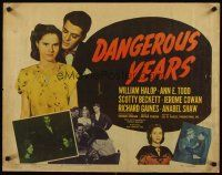 3m027 DANGEROUS YEARS 1/2sh '48 Todd & Billy Halop, unbilled Marilyn Monroe pictured in her first!