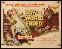 3m028 DAY THE WORLD ENDED 1/2sh '56 Roger Corman, art of sexy girl attacked by monster from Hell!