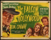 3m029 FALCON IN HOLLYWOOD 1/2sh '44 detective Tom Conway, where next will the killer strike!