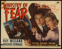 3m032 MINISTRY OF FEAR 1/2sh '44 Fritz Lang, Ray Milland w/gun & sexy Marjorie Reynolds!