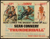 3m037 THUNDERBALL 1/2sh '65 three great art images Sean Connery as secret agent James Bond 007!