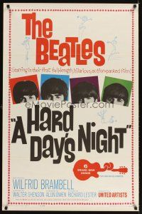 3m063 HARD DAY'S NIGHT 1sh '64 great image of The Beatles, rock & roll classic!