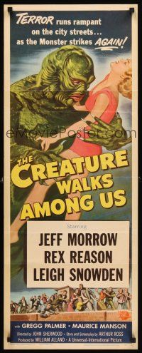 3m044 CREATURE WALKS AMONG US insert '56 Reynold Brown art of monster attacking sexy girl!