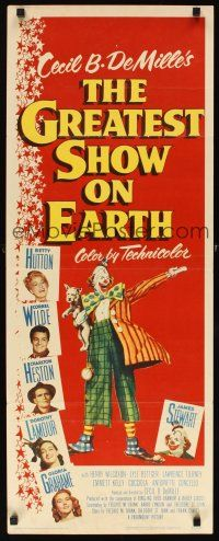 3m046 GREATEST SHOW ON EARTH insert '52 Cecil B. DeMille circus classic, Heston, James Stewart!