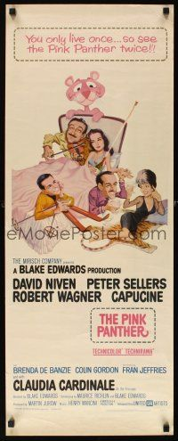 3m053 PINK PANTHER insert '64 wacky art of Peter Sellers & David Niven by Jack Rickard!