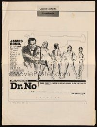 3m011 DR. NO pressbook '62 Sean Connery as 1st James Bond, great Al Hirschfeld newspaper ad!