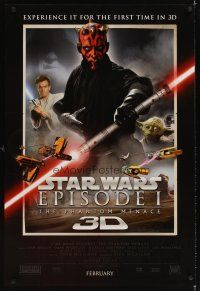 3m066 PHANTOM MENACE style A int'l advance DS 1sh R12 Darth Maul, Star Wars Episode I in 3-D!