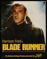 3m018 BLADE RUNNER special 17x22 poster '82 great Harrison Ford close up, Schlitz beer tie-in!
