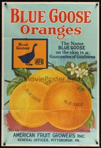 3m003 BLUE GOOSE ORANGES 30x44 advertising poster '30s guarantee of goodness, wonderful art!