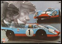 3m008 GULF PORSCHE 917 2-sided Swiss advertising poster '70s schematic of classic Le Mans racer!