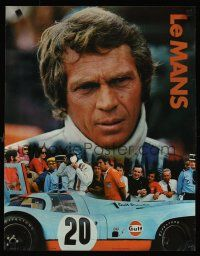 3m019 LE MANS Gulf Oil special 17x22 '71 great close up image of race car driver Steve McQueen!