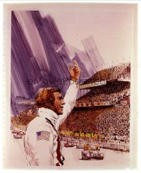 3m013 LE MANS 8x10 transparency '71 Tom Jung art of race car driver Steve McQueen waving at fans!