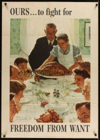 3m001 FREEDOM FROM WANT 28x40 Four Freedoms poster '43 classic Norman Rockwell patriotic art!