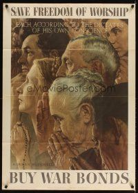 3m002 FREEDOM OF WORSHIP 28x40 Four Freedoms poster '43 Norman Rockwell art, different faiths pray!