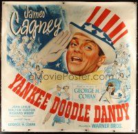 3p221 YANKEE DOODLE DANDY linen 6sh '42 wonderful giant image of James Cagney as George M. Cohan!