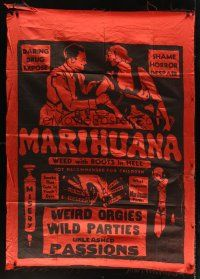 3p076 MARIHUANA 45x62 silk banner 35 Dwain Esper daring drug expose The Weed with Roots in Hell