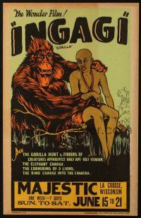 3p042 INGAGI WC '31 different artwork of wacky African ape creature & native, filmed in Brooklyn!