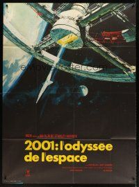 3x595 2001: A SPACE ODYSSEY French 1p R70s Stanley Kubrick, art of space wheel by Bob McCall!