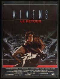 3x606 ALIENS French 1p '86 James Cameron, close up of Sigourney Weaver carrying little girl!