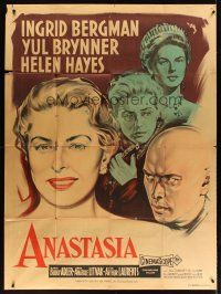 3x611 ANASTASIA French 1p '56 different art of Ingrid Bergman & Yul Brynner by R. Geleng!