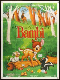 3x622 BAMBI French 1p R90s Walt Disney cartoon deer classic, great art with Thumper & Flower!