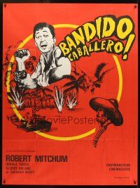 3x624 BANDIDO French 1p '56 artwork of one-man army Robert Mitchum throwing grenade!