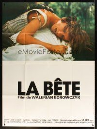 3x629 BEAST French 1p '75 Borowczyk's La Bete, close image of monster carrying girl!