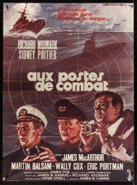 3x632 BEDFORD INCIDENT French 1p '65 Richard Widmark, Sidney Poitier, art by Roger Soubie!