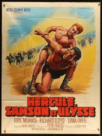 3x769 HERCULES, SAMSON, & ULYSSES French 1p '65 great different artwork by Roger Soubie!