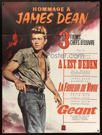 3x772 HOMMAGE A JAMES DEAN French 1p '60s great artwork of the movie legend by Jean Mascii!
